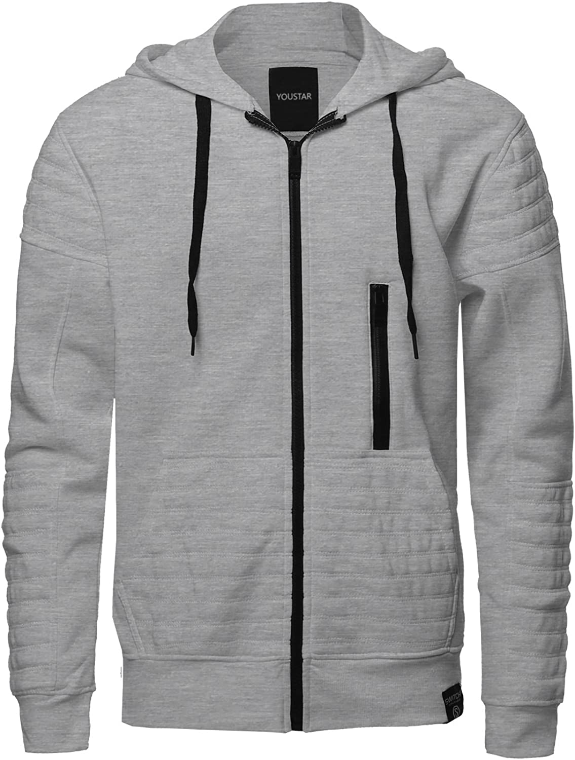 Youstar Men's Fashion Hoodie Jacket with Contrast Zipper and Ribbed Details