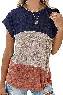 Asvivid Womens Crewneck Color Block Summer Short Sleeve Tops Twist Knot Loose T-Shirt Blouse