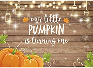 Allenjoy Pumpkin Rustic Wood Backdrop Happy 1st First Birthday Autumn Our Little Pumpkin Boy Girl is Turning One Party Decorations Fall Maple Leaf Table Banner 7x5ft Background Photo Booth Props