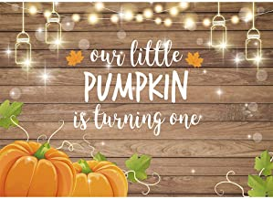 Allenjoy Pumpkin Rustic Wood Backdrop Happy 1st First Birthday Autumn Our Little Pumpkin Boy Girl is Turning One Party Dec...