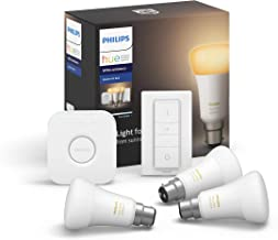 Philips Hue White Ambiance Smart Bulb Starter Kit - Bayonet Cap B22 (Compatible with Amazon Alexa, Apple HomeKit, and Goog...