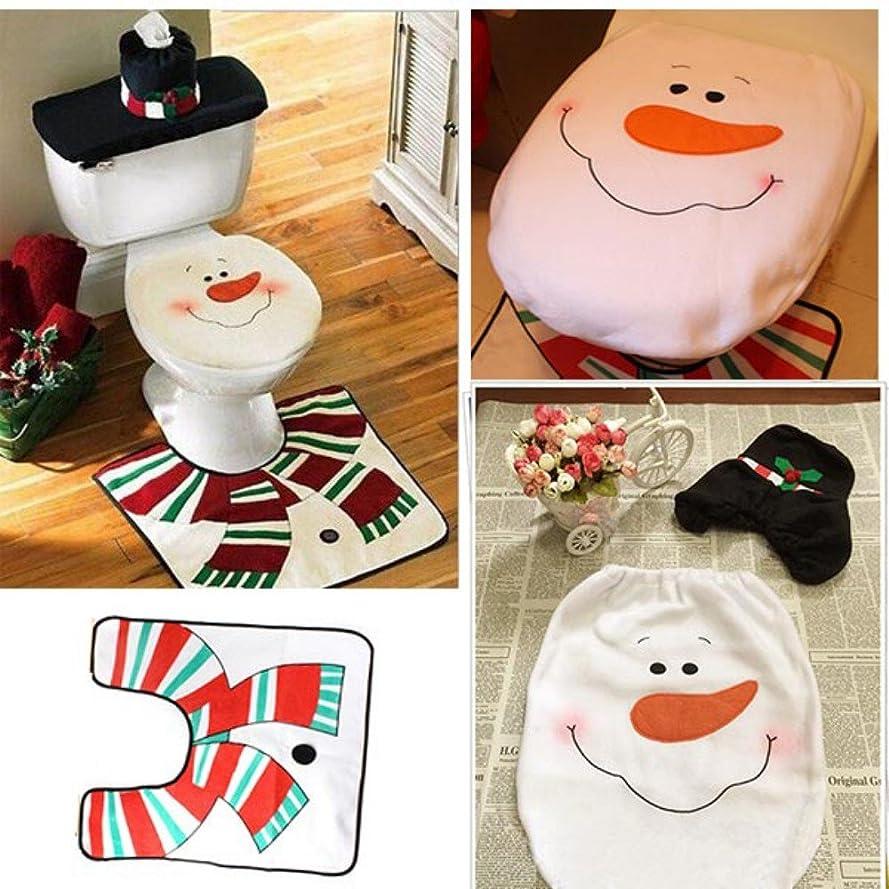 トークン英語の授業がありますシャッフルUngfu Mall 便座カバーセット クリスマス飾り マット?トイレカバー?タンクカバー 可愛い雪だるま プレゼント  パーティ用