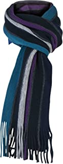 Mens Outdoor Warm Knitted Fashion Striped Winter Scarf for Cold Weather