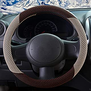 ZHOL Universal 15 inch Steering Wheel Cover, Breathable, Anti-Slip, Odorless, Warm in Winter and Cool in Summer, Beige and Brown
