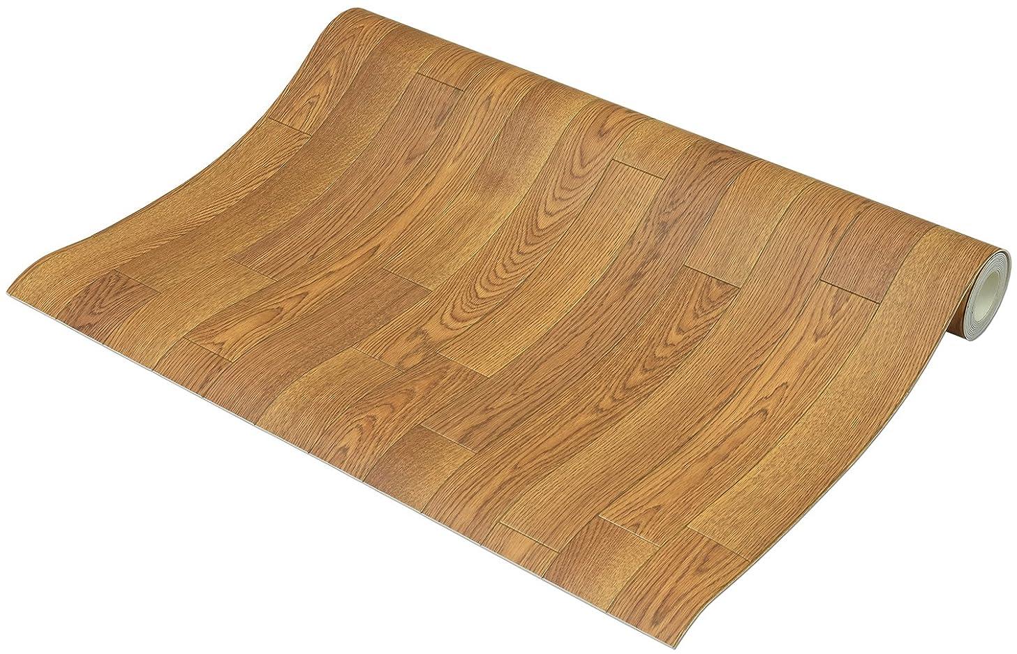 絶望的な回転する力強いフリーカット 敷くだけリメイク床シート 木目 ナチュラル 約90×250cm