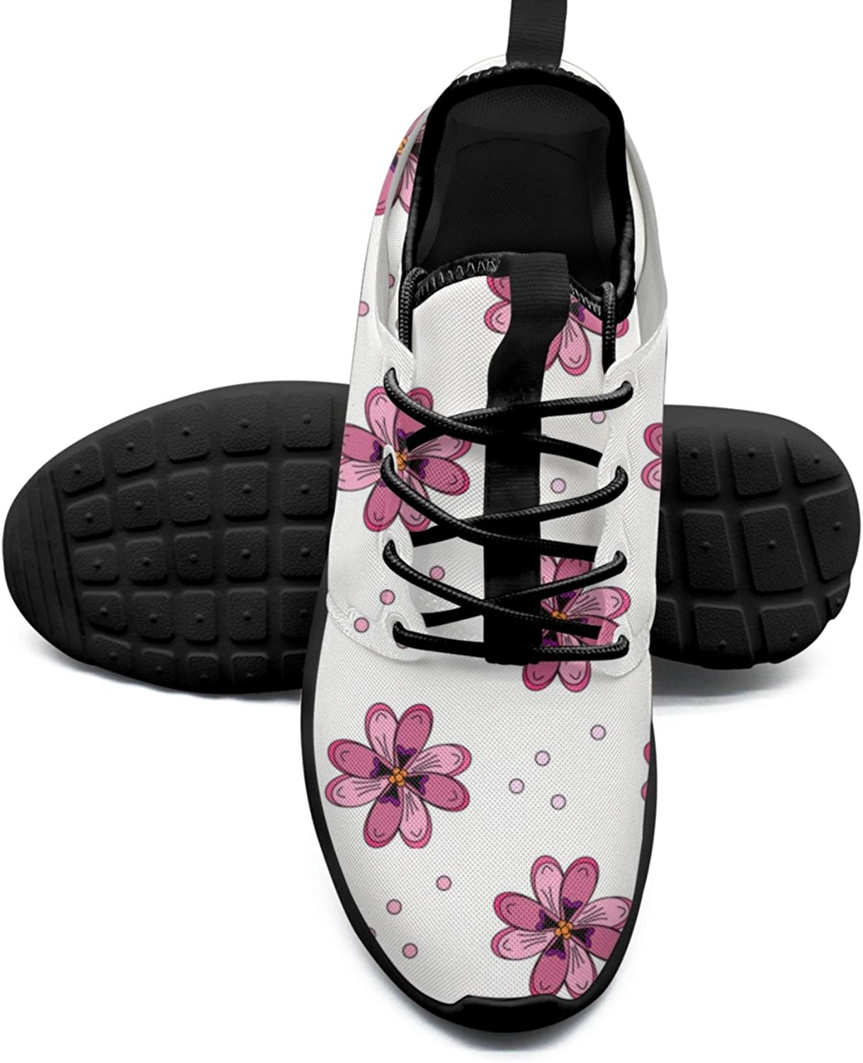 Pink Floral Cool Women's Sneakers shoes Retro Mesh Lightweight Tennis Sneakers