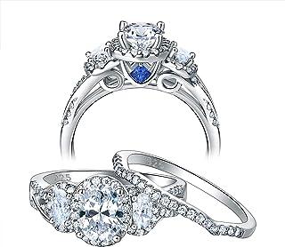 Newshe خواتم زفاف للنساء خاتم الخطوبة مجموعة 925 الفضة الاسترليني بيضاوي Cz 3.5Ct أزرق حجم 5-10