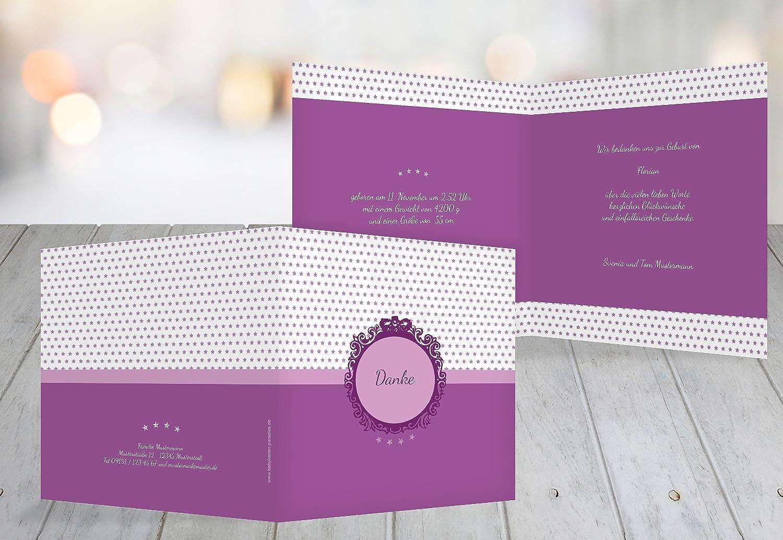 Kartenparadies Danksagung für Geburt Baby Dankeskarte Sternchen, hochwertige Danksagungskarte Baby inklusive Umschläge   10 Karten - (Format  145x145 mm) Farbe  Lila B01N9XI35Y | Verkauf Online-Shop  | Langfristiger Ruf  | München