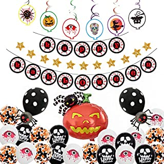 38 Pcs Halloween Party Decorations Supplies Kits - Large Halloween Spider Balloon, Happy Halloween Banner, Ghost Balloon, Horror Eyes Balloon, Halloween Swirl & Card