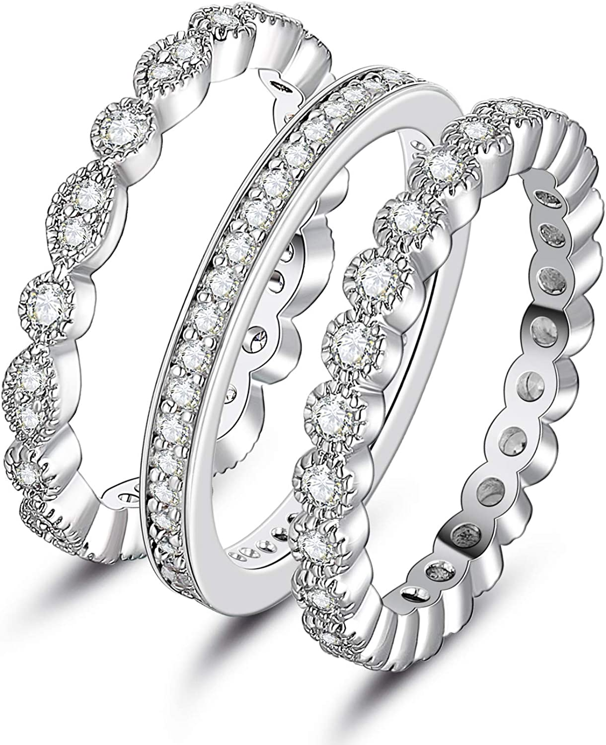 XBRN 3Pcs 2mm Women Stackable Eternity Ring Wedding Bands,18K White Gold Plated Cubic Zirconia Rings Pack