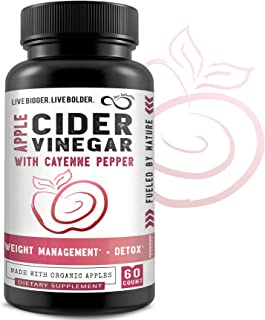 100% Organic Apple Cider Vinegar Capsules with Mother, Cayenne Pepper & Bioperene® - Raw Unfiltered & Unpasteurized for Im...