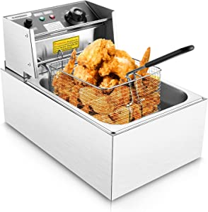 Wesoky Professional Electric Deep Fryer, 6L Commercial Deep Fryer with Basket & Temperature Knob, Stainless Steel Countertop Kitchen Frying Machine forHome Kitchen Restaurant