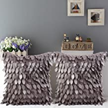 SeptCity Feather Throw Pillow Covers 16x16 Decorative Cushion Pillow,Home Decor (Pack of 2)(Grey)