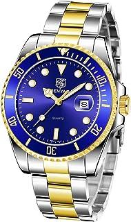 BENYAR Montre Homme Montres Etanche Chronographe Lumineuses Classique Montres Bracelet en Acier Inoxydable Grand Cadran Da...
