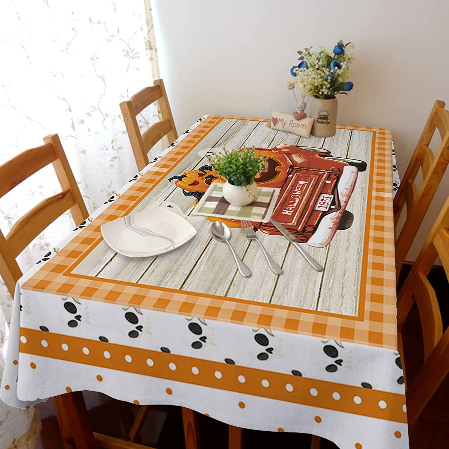 Arts Language Tablecloth for Rectangle Table Oval Max New item 61% OFF Pump Halloween