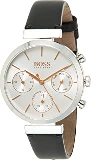 Hugo Boss Women's Silver White Dial Black Leather Watch - 1502528