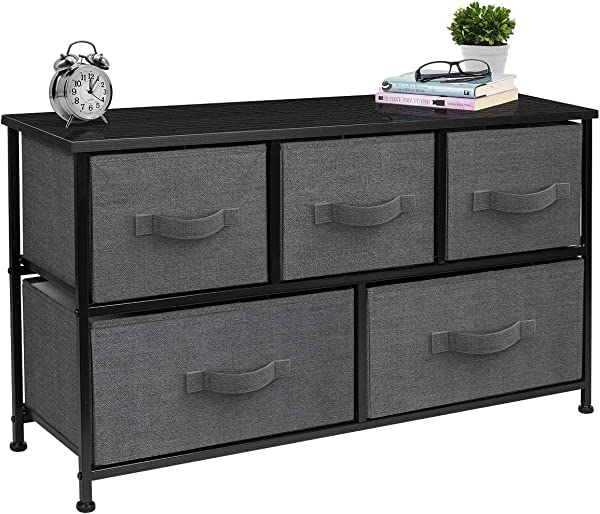 Sorbus Dresser With Drawers Furniture Storage Tower Unit For Bedroom Hallway Closet Office Organization Steel Frame Wood Top Easy Pull Fabric Bins 5 Drawer Black Charcoal