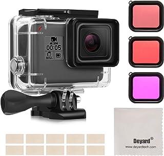 Deyard Kit Accesorio Impermeable para GoPro Hero 7(Sólo Negro) /Hero(2018) / 6/5 con Estuche Empermeable + Filtro Rojo + Inserto Antivaho GoPro Hero (2018) / Hero6 / Hero5 Action Camera