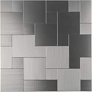 Decopus Peel & Stick Metal Tile Backsplash (IS50 Silver/Stainless Steel Grain Brush 5pc/Pack) 12x 12in x1.6in Self Adhesive Metal Wall Tile Accent Wall
