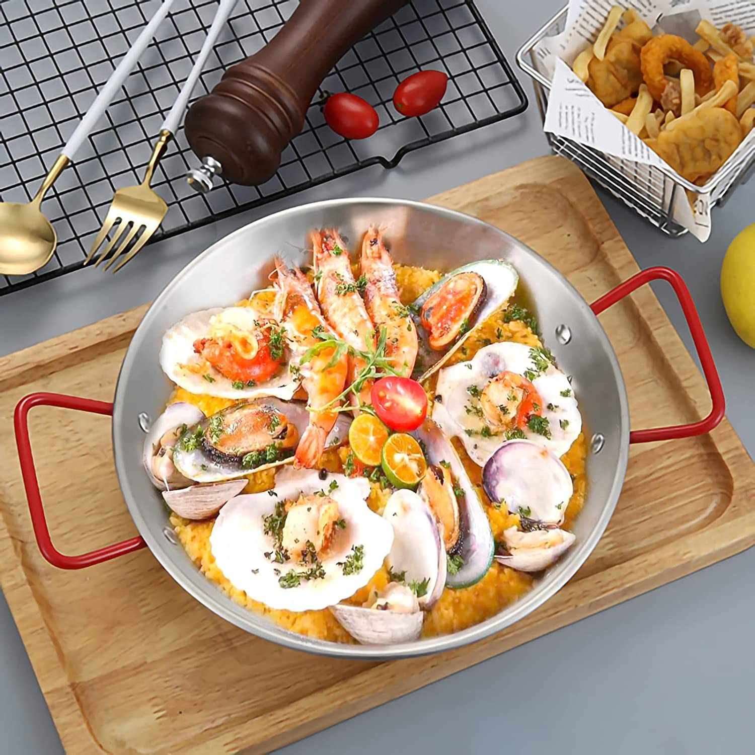 MANO Max 74% OFF Paella 5 ☆ very popular Pan 15 Inch Nonstick 6 for S Skillet Stainless Steel
