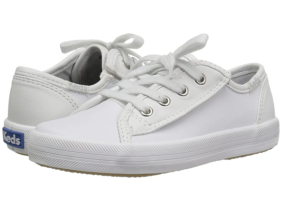 Keds Kids Kickstart Core (Toddler/Little Kid) (White Leather) Girls Shoes