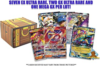 Pokemon Lot of 10 All 150 HP or Higher No Duplication - Ultra Rare Lot - 7 EX - 2 GX - 1 Mega EX Ultra Rare in Every Bundle! Includes Golden Groundhog Box!