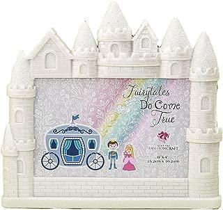 Mozlly White Fairytales Do Come True Castle Glitter Finish 4 x 6 Photo Frame - Nursery Decor - Item #105029