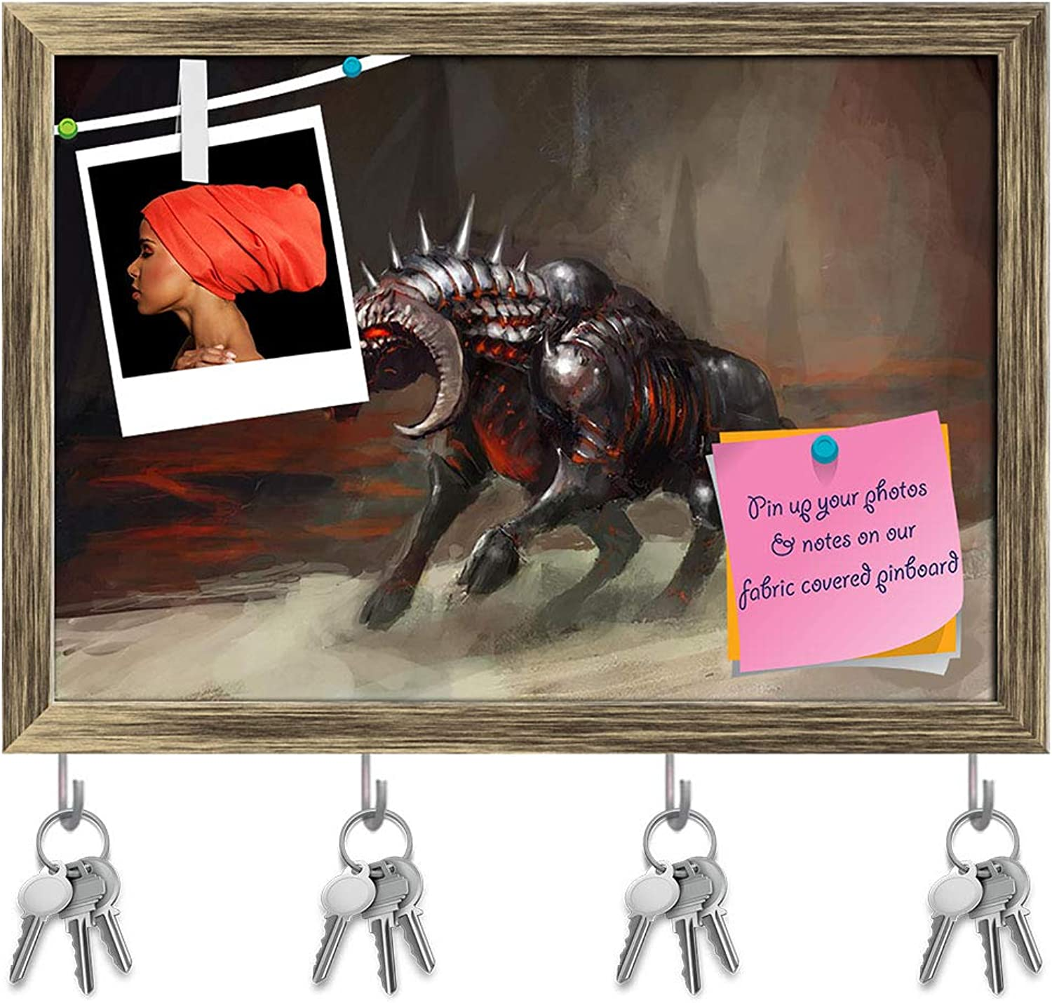 Artzfolio Melting Armor Knight Bull in Flames Key Holder Hooks   Notice Pin Board   Antique golden Frame 14.1 X 10Inch
