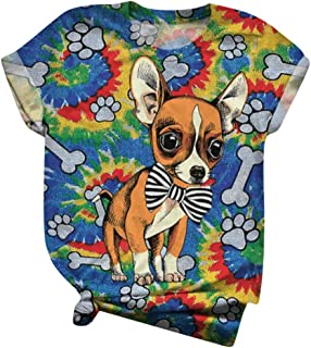 LONGTING Womens T-Shirt Casual Animal Print Tops O-Neck Short Sleeve Loose Tunic Graphic Chic Tees Blouse Comfy Pullover