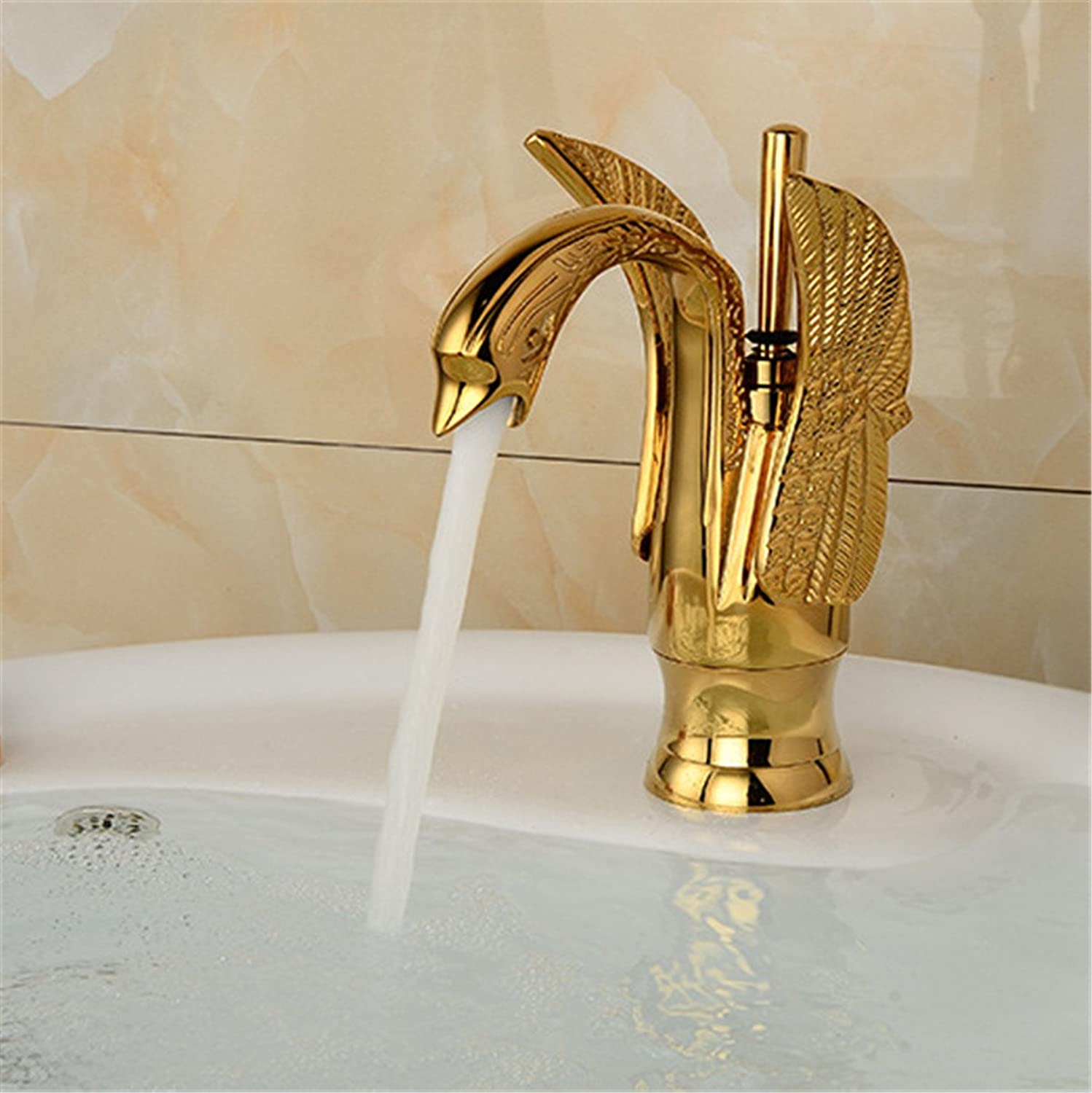 Bijjaladeva Antique Bathroom Sink Vessel Faucet Basin Mixer Tap The swan bathroom basin bathroom sink basin-wide antique copper single basin faucet below the golden basin cold wate