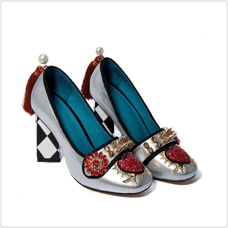 Yyixianma Tassel Women's shoes from Genuine Leather Rivet Woman Heels 5.5cm & 8cm 2019 Crystal Flower Slip on Pumps Ladies FT621 Silver 8cm Heel 8