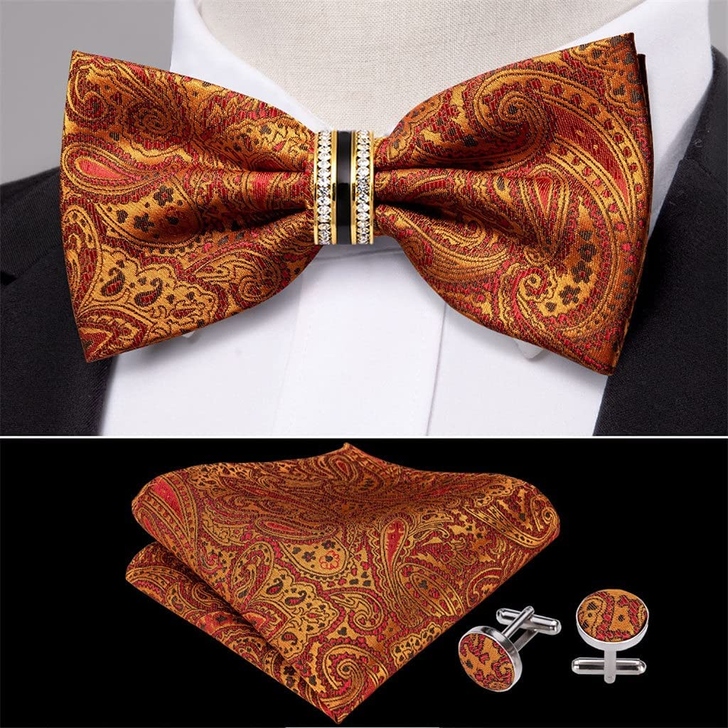 NJBYX Orange Silk Pre-Bow Tie For Men Wedding Accessorie Adjustable Butterfly Handky Removable Diamond Ring Set (Color : Orange, Size : One size)