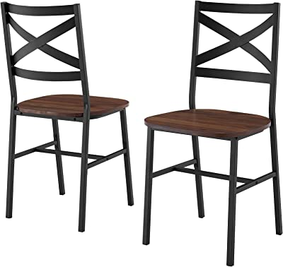 Walker Edison Person Rectangle Kitchen -Table Modern Industrial Farmhouse Wood Dining Chairs, Set of 2, Dark Walnut