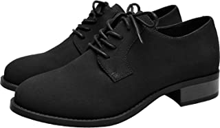 Women's Wide Width Oxfords - Classic Flat Lace Up Urban Formal Shoes.(181168,Black,10.5)