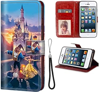 DISNEY COLLECTION Wallet Phone Case Compatible with iPhone 5C Beast Dances with Beauty Classic Leather All Sided Kickstand Credit Card Plots Bumper Shock Absorption Protective Cover