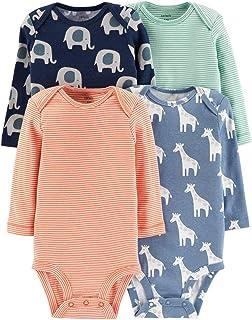 Carter's Baby Boys' 4-Pack Long-Sleeve Original Bodysuits (Ele/Giraffe/Stripes, 6 Months)