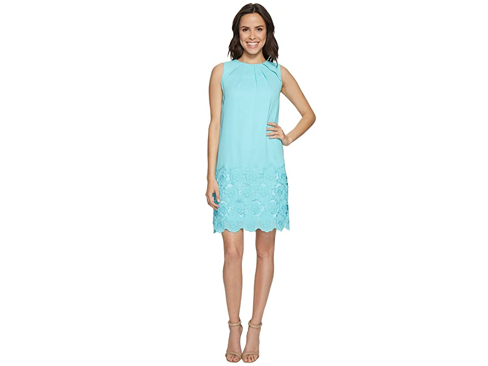 Tahari by ASL Floral Embroidered Hem Shift Dress (Beach Glass Blue) Women