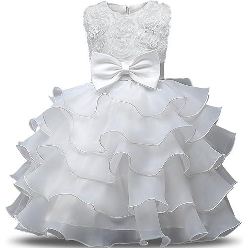 1eb288dafee NNJXD Girl Dress Kids Ruffles Lace Party Wedding Dresses