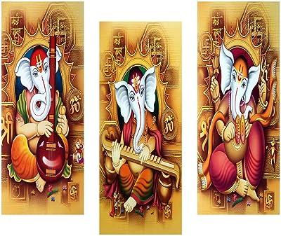 SAF Ganesha 6MM MDF Framed Set of 3 Digital Reprint 15 inch x 18 inch Painting () SAFJ14 SAFJ14