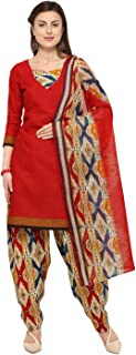 Rajnandini Red Cotton Salwar Suit For Women (Ready To Wear)(One Size)