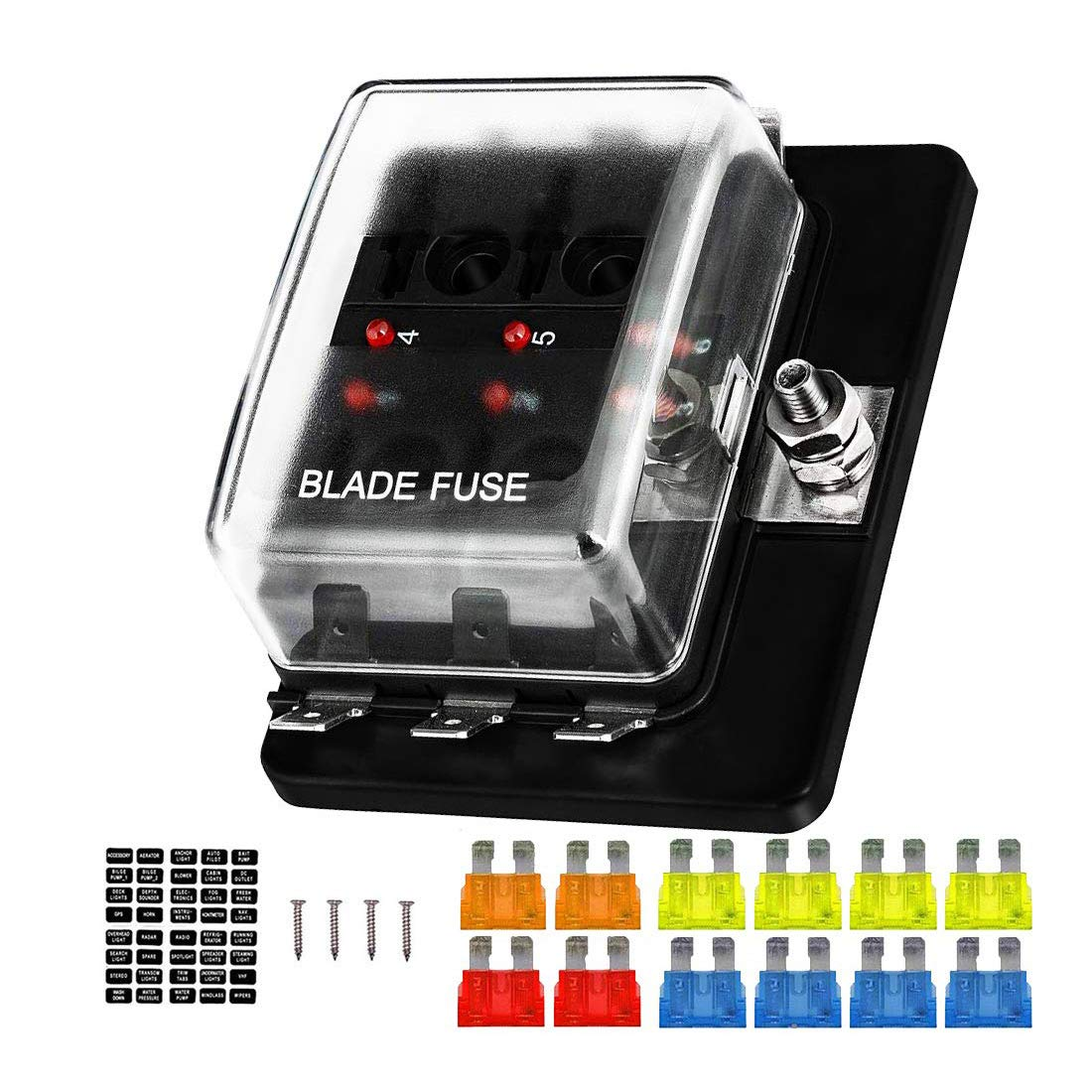 6-Way Blade Fuse Box with Waterproof Warning LED Max 40% OFF Cheap Sale 72% OFF Indicator Cover