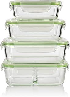 GOURMETmaxx Set de 4 contenedores de alimentos de vidrio con pared divisoria, incluyendo la tapa | cierre cuádruple y sello de silicona | perfecta conservación del aroma de la comida