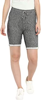 KVL Womens Cotton & Polyester Knitted Solid Jogging Shorts - Black