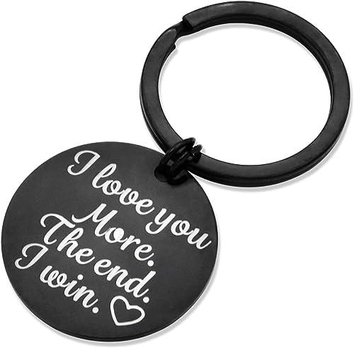 Husband Wife Keychain Gifts for Anniversary Wedding Boyfriend Girlfriend I Love You More i Win