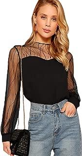 Women's Elegant Mesh Long Sleeve Sweetheart Neck Casual Chiffon Blouse Top