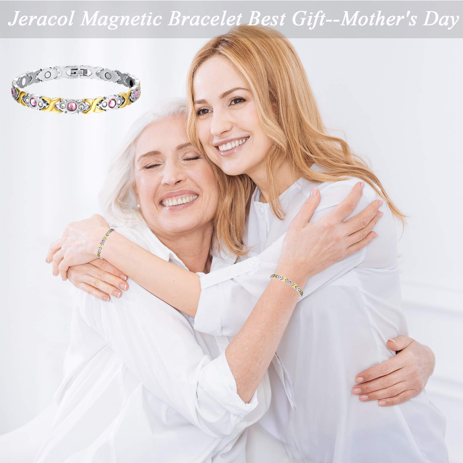 Magnetic Bracelet Sparkly Crystal Magnetic Therapy Bracelet Pain Relief for Arthritis Titanium Magnetic Bracelets Health Care Best Gift for Women Mother's Day with Remove Tool&Gift Box