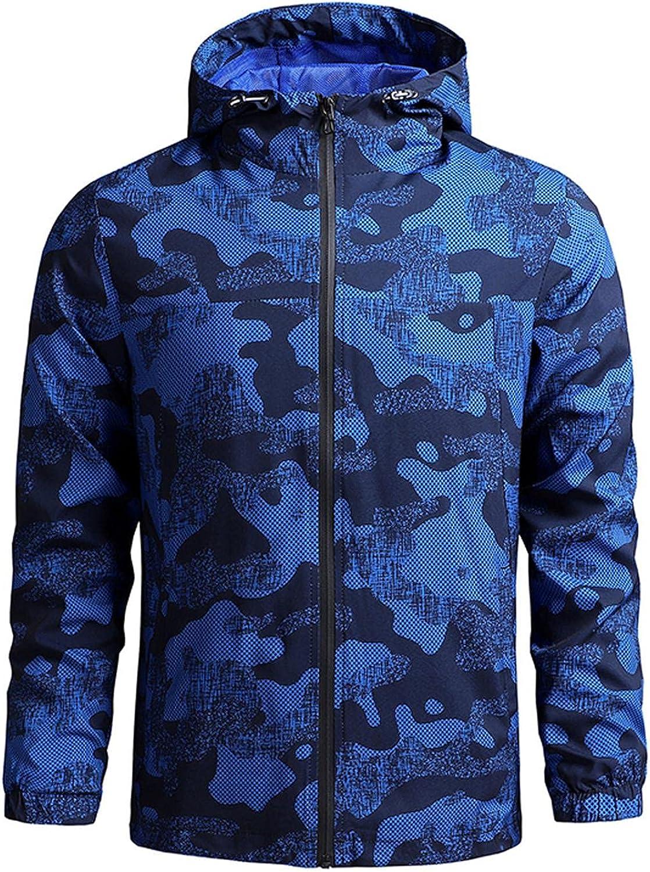FUNEY Jacket for Men Lightweight Running Hoodie Windbreaker Long Sleeve Outdoors Travel Hiking Fishing Workout Shirt