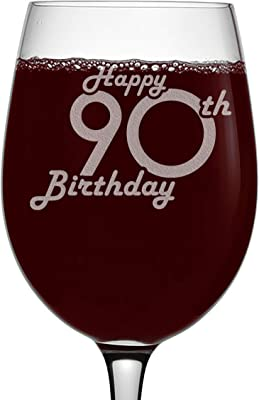 Etched 16oz Stemmed Wine Glass - Happy 90th Birthday - 90 Years Old Gifts