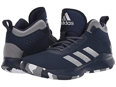 adidas Kids Cross Em Up 5 Wide Basketball (Little Kid/Big Kid) (Grey Three/Silver Metallic/Collegiate Navy) Kids Shoes