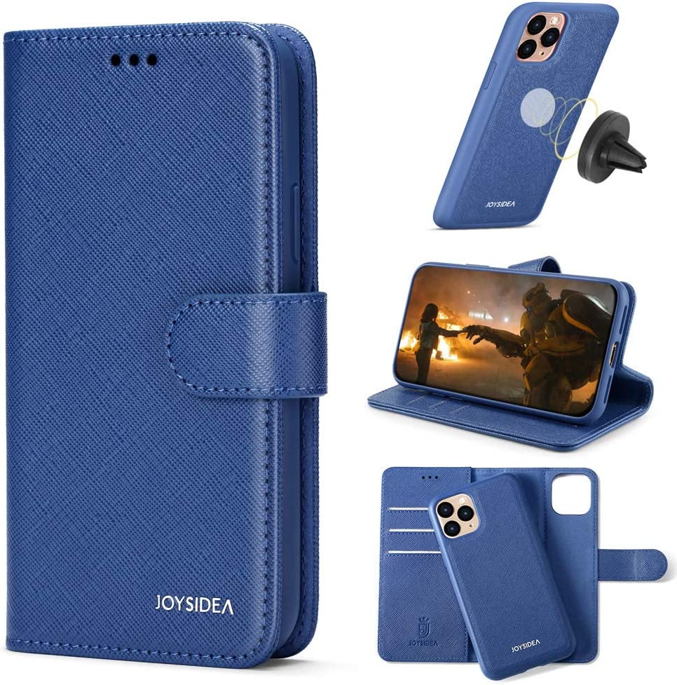 """JOYSIDEA 2-in-1 iPhone 11 Wallet Case Magnetic Detachable, Premium PU Leather Slim Flip Folio Case with Card Holder, RFID Protection & Kickstand, Fit Car Mount for iPhone 11 6.1"""", Blue"""